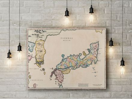 Joan Blaeu: Map of Japan. Fine Art Canvas.
